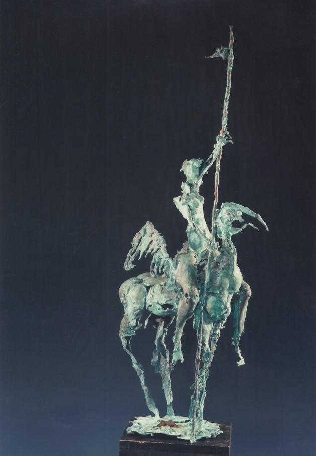 Hans-Peter Müller | Reiterin auf Fabelwesen, Kupfer | Surrealismus Aktuelle