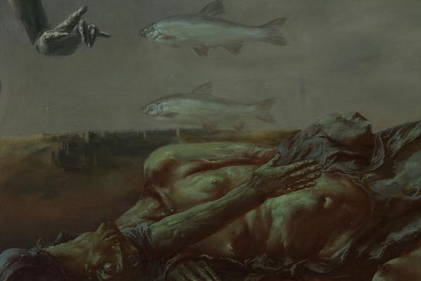 Alexandra Müller-Jontschewa | Antonius von Padua predigt den Fischen | Surrealismus Aktuelle