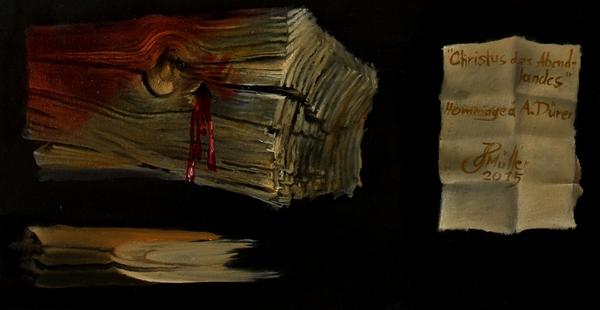 Hans-Peter Müller | Christos des Abendlandes | Hommage à Abrecht Dürer | Ausschnitt | Öl / Leindwand | Surrealismus-Aktuelle.com