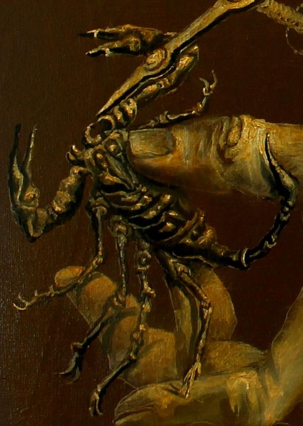 Hans-Peter Müller | Detailansicht Skorpion 8 | 2015 | Öl / Leindwand | Surrealismus-Aktuelle.com