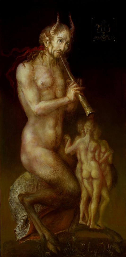 Alexandra Müller-Jontschewa | Satyr mit Grazien | Surrealismus-Aktuelle.com