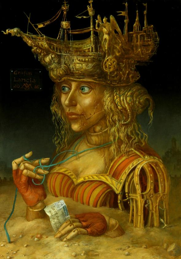 Alexandra Müller-Jontschewa | Grafin Lancia in der Wüste | Surrealismus-Aktuelle.com