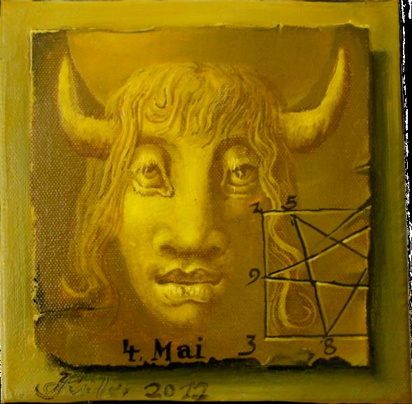 Hans-Peter Müller | Im Zeichen der Kuh | 20 x 20 cm | surrealismus-aktuelle.com