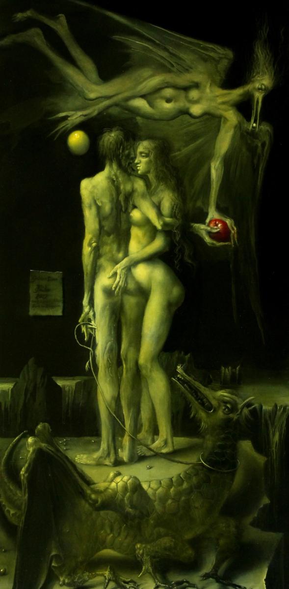 Hans-Peter Müller | Golden Dawn mit Lilith, Adam, Eva und Dragon | Öl Leinwand | 2017
