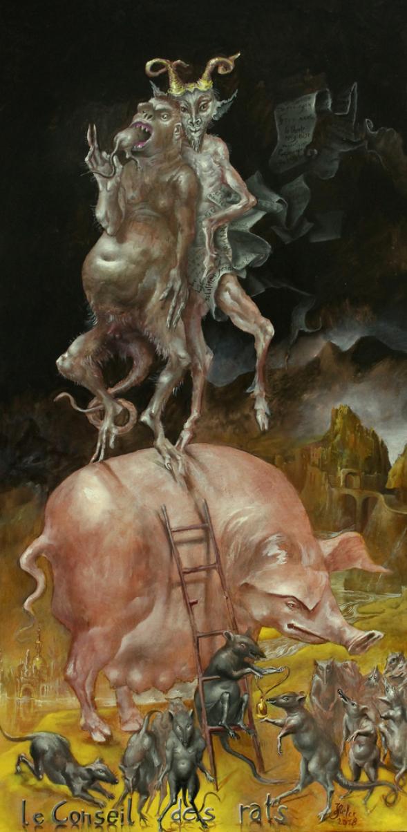 Hans-Peter Müller | Der Rat der Ratten (La Fontaine) | surrealismus-aktuelle.com