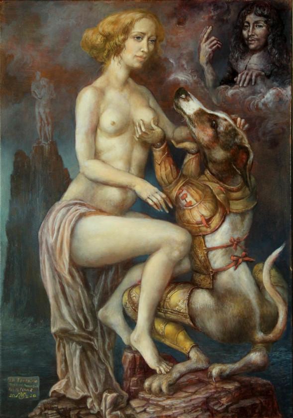 Alexandra Müller-Jontschewa |  Tircis und Amarant - La Fontaine Buch 8, Fabel 13 | Surrealismus-aktuelle.com